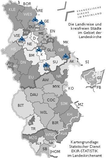 Schematische Karte der evangelischen Kirche im Rheinland ihren Kirchenkreisen